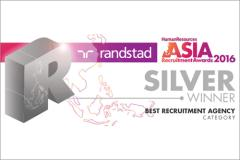 randstad awarded best recruitment agency (silver) at asia recruitment awards 2016.